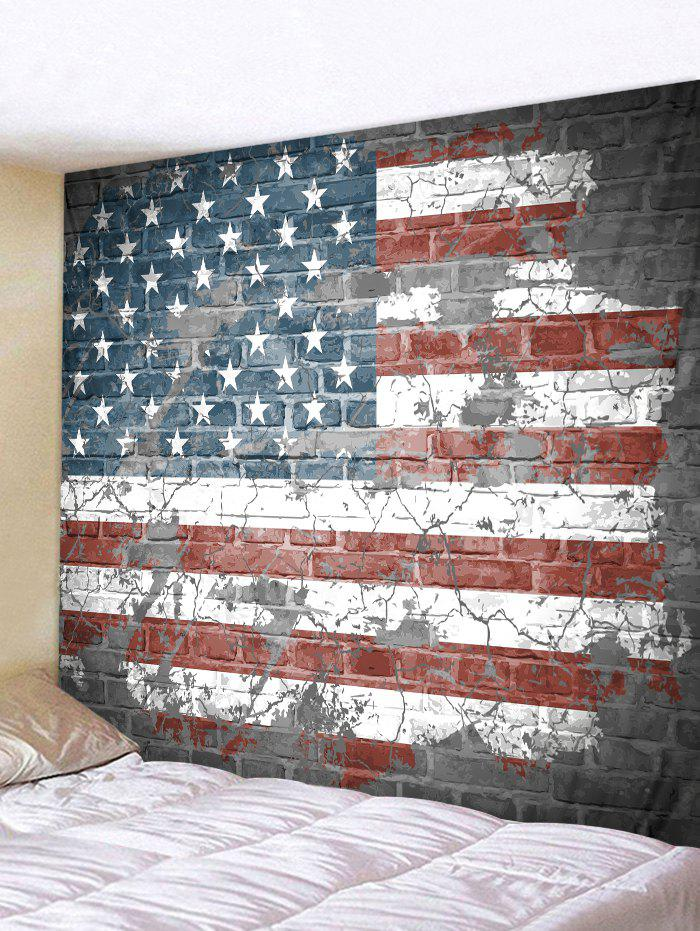 Vintage USA Flag Broken Wall Printed Polyester Tapestry - RED WINE W91 X L71 INCH