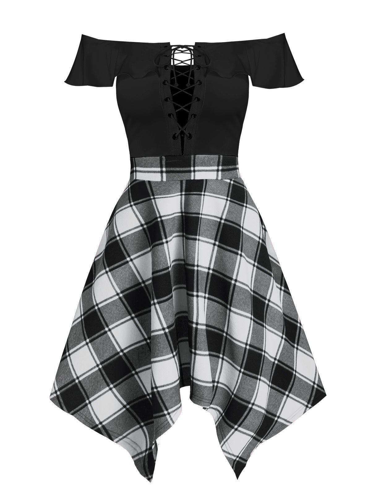 Handkerchief Off  Shoulder Lace Up Plaid Dress - BLACK 3XL