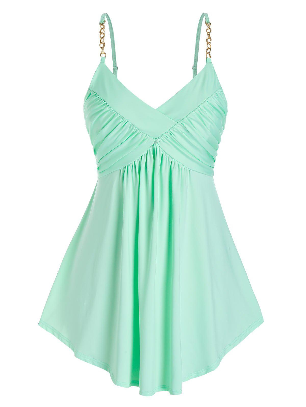 Plus Size Pleated Chain Cami Tank Top - LIGHT GREEN 2X