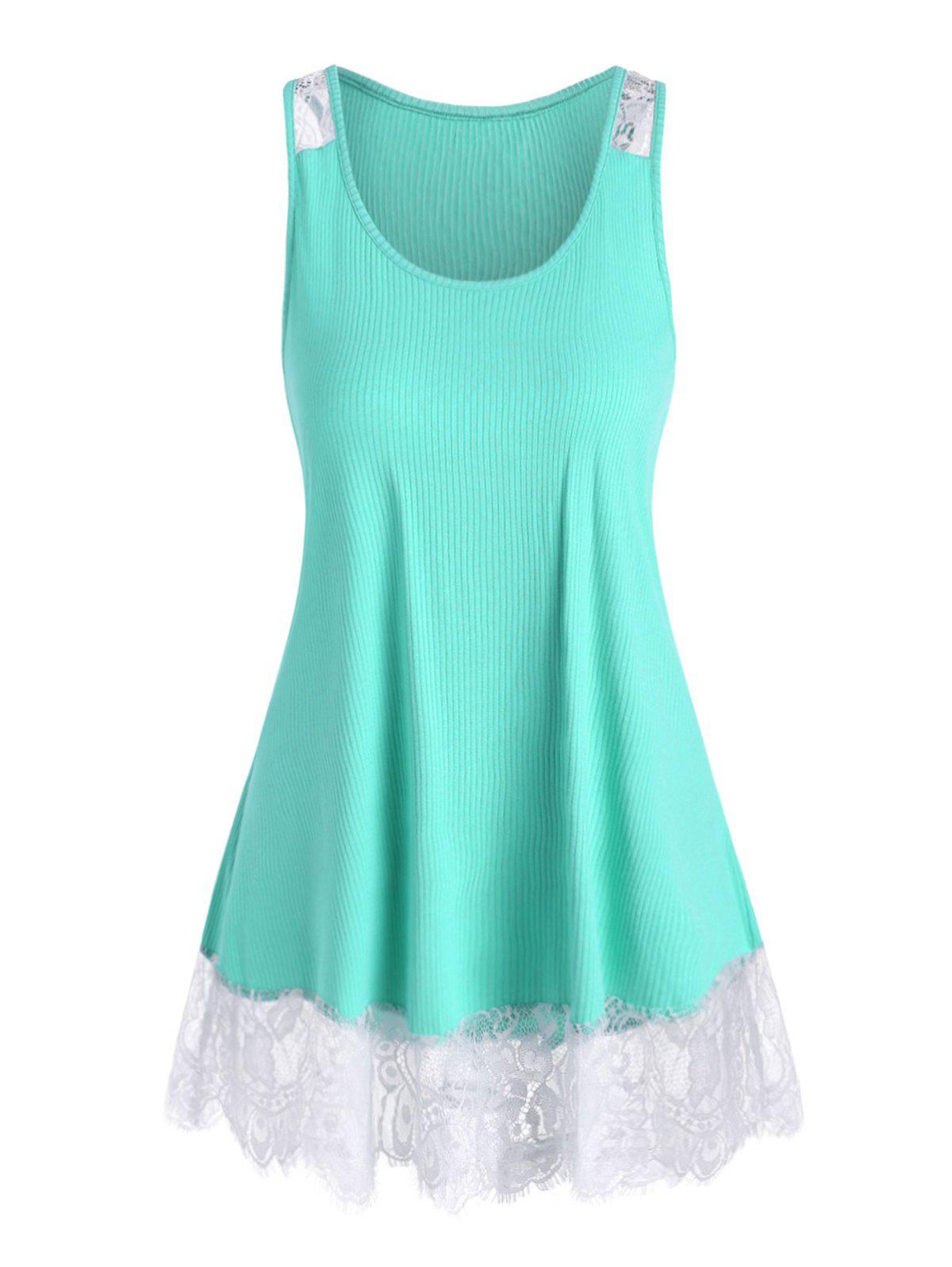 Plus Size Lace Panel Ribbed Tank Top - AQUAMARINE 4X