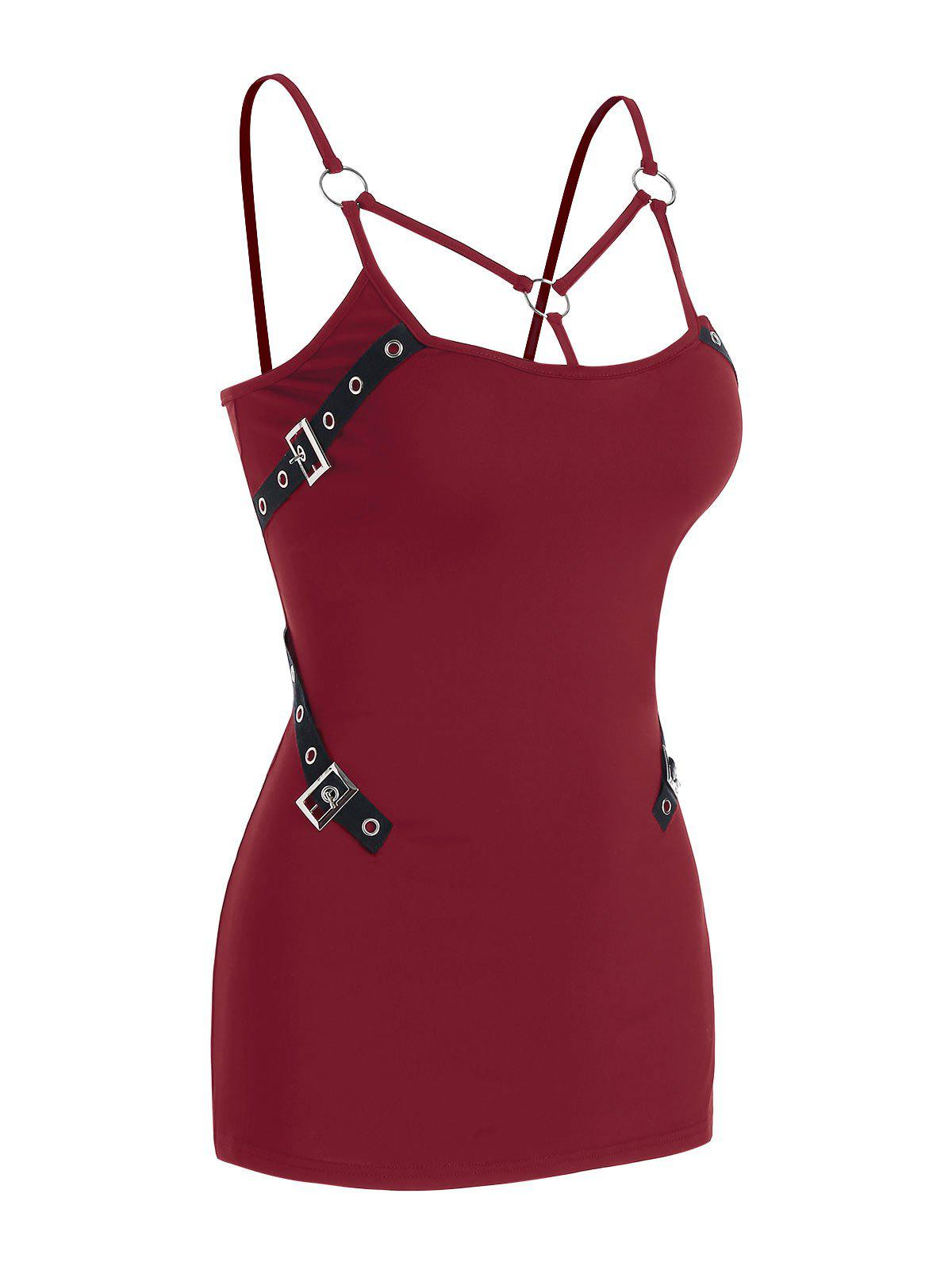 Buckle Strap O-ring Strappy Cami Top - RED WINE S