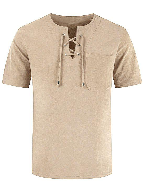 Short Sleeve Notched Lace-up Pocket T-shirt - LIGHT YELLOW L