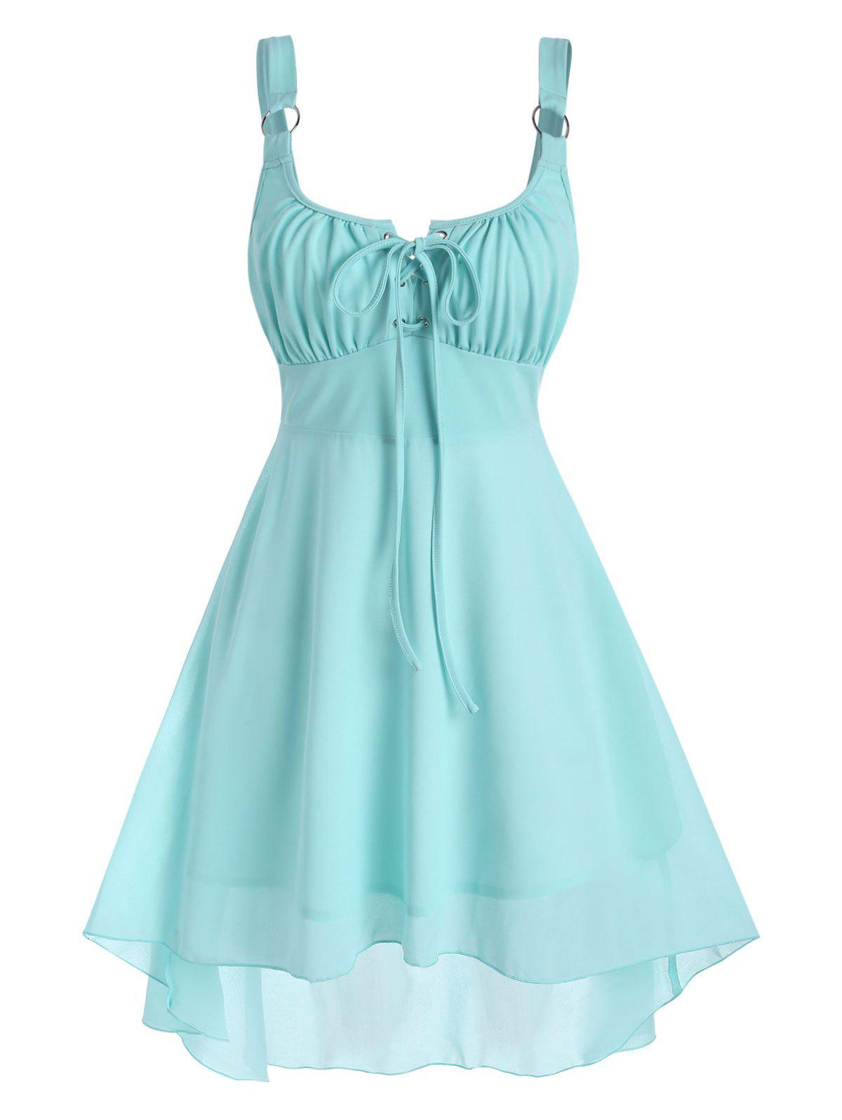 Lace-up Rings High Low Dress - LIGHT GREEN 2XL