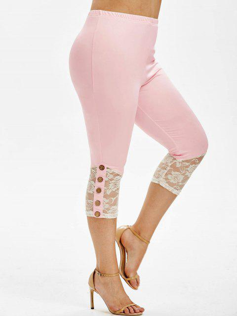 Plus Size Cropped Lace Insert Leggings