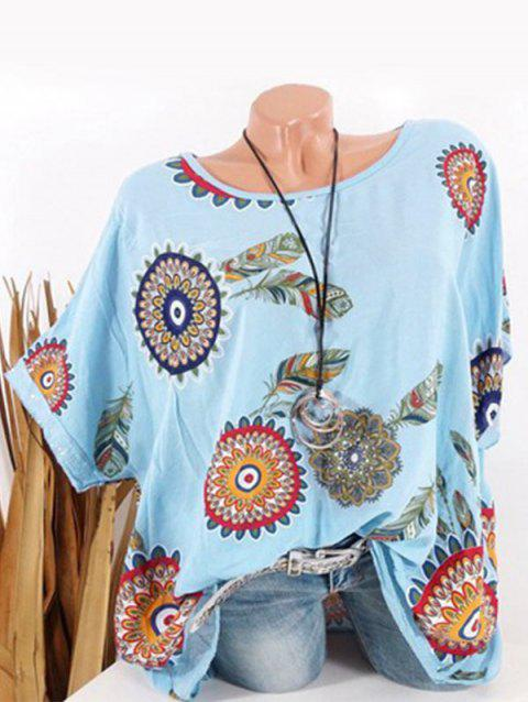 Plus Size Tribal Feather Print Sequin Batwing Sleeve Tee