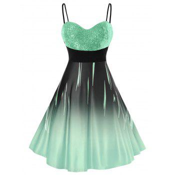 Plus Size Glitter Sequined Ombre Cami Party Dress