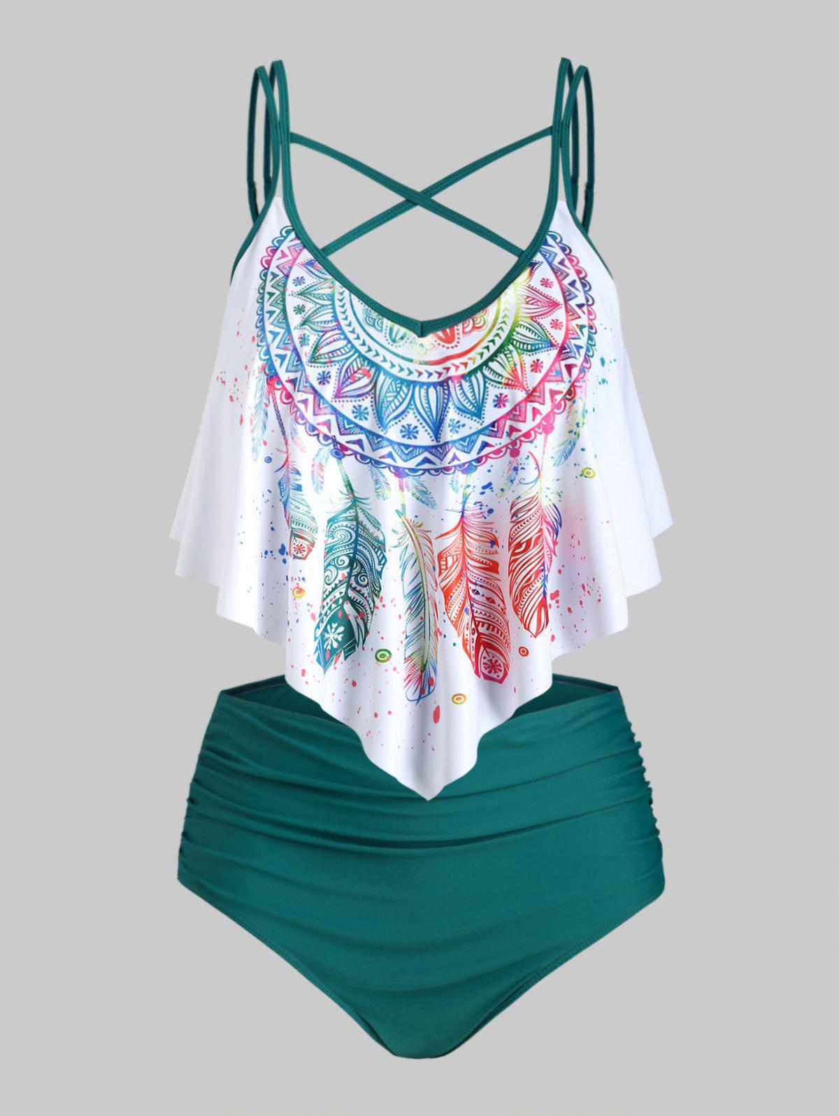 Plus Size Crisscross Feather Print Ruffled Tankini Swimwear - DEEP GREEN 1X