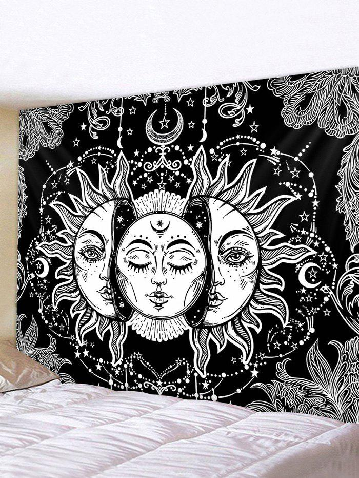Digital Print Sun And Moon Face Waterproof Tapestry - multicolor W79 X L71 INCH