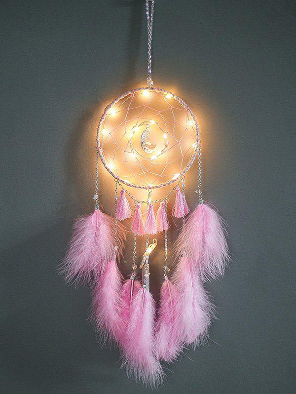 Tassel Feather Moon Home Hanging Dream Catcher - PIG PINK