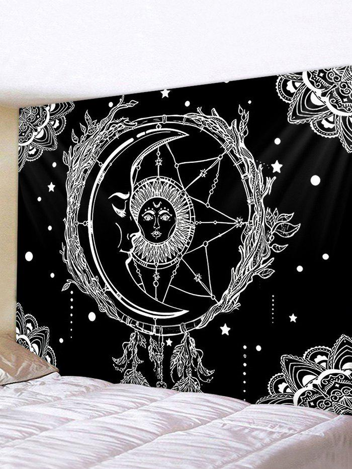 Sun And Moon Digital Printing Waterproof Tapestry - multicolor W79 X L71 INCH