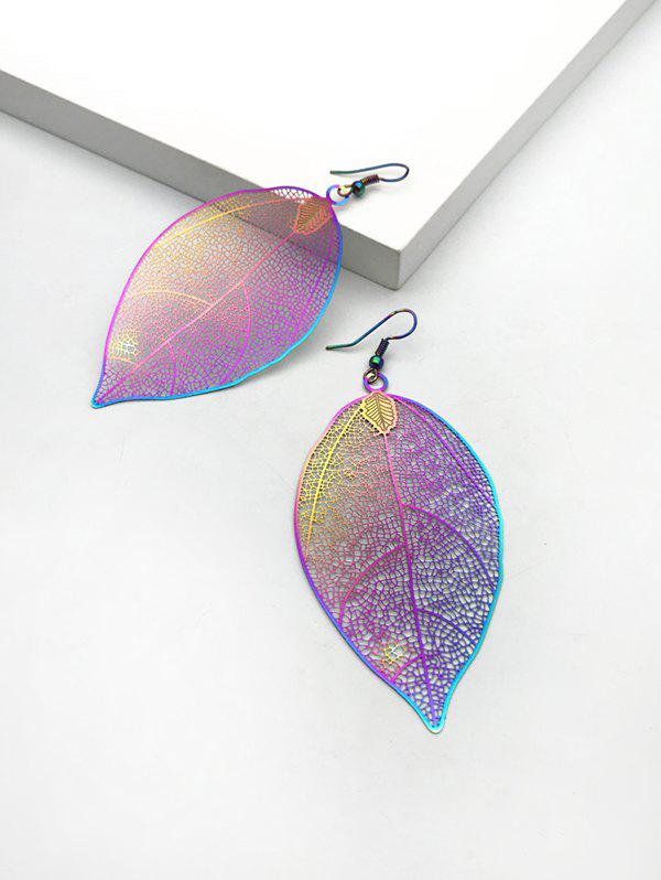 Colorful Hollow Out Leaf Hook Earrings - multicolor