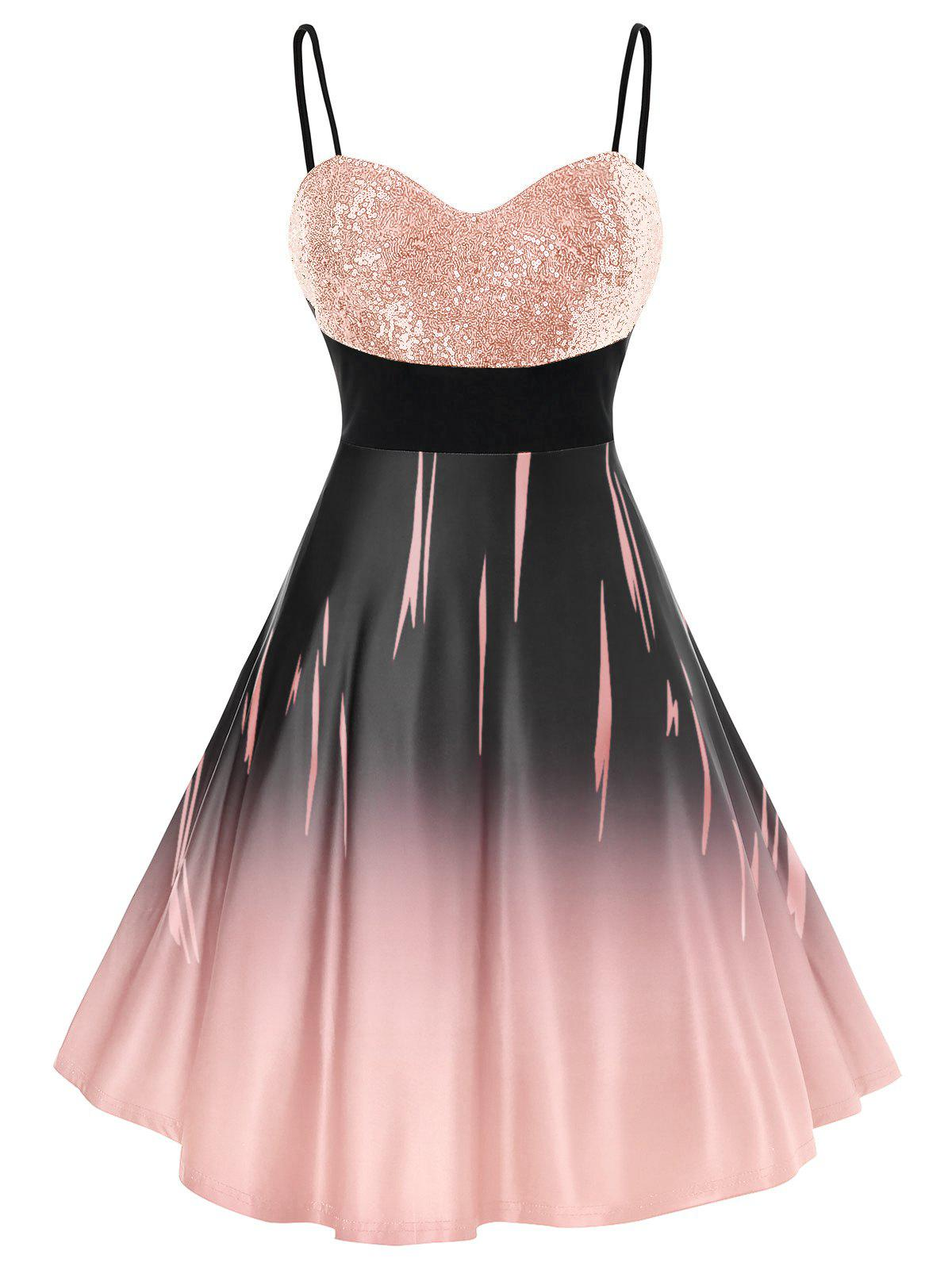Plus Size Glitter Sequined Ombre Cami Party Dress - ROSE 2X