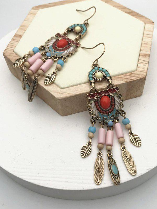 Ethnic Mixed Color Beads Fringe Earrings - multicolor
