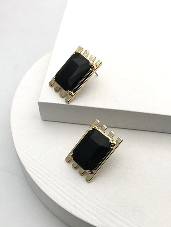 Alloy Square Faux Crystal Earrings - BLACK