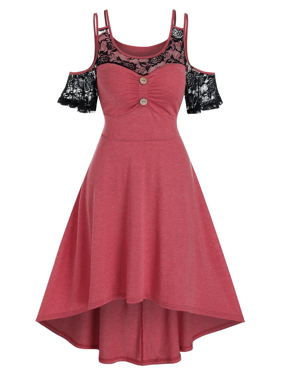 Lace Insert Cold Shoulder High Low Midi Dress - CHERRY RED M
