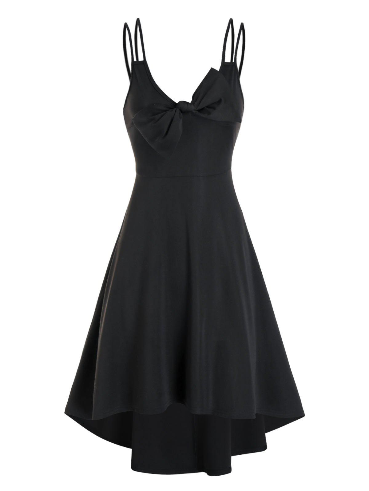 Plain Bowknot Cami Dip Hem Dress - BLACK 3XL