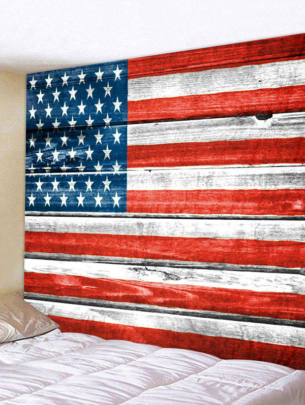 Wooden Board USA Flag Print Removable Wall Tapestry - multicolor W91 X L71 INCH