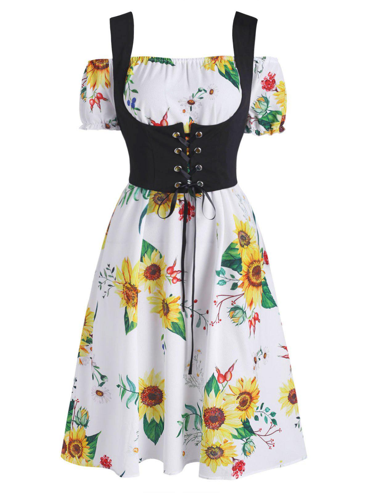 Off Shoulder Sunflower Dress and Lace-up Waistcoat Set - WHITE S