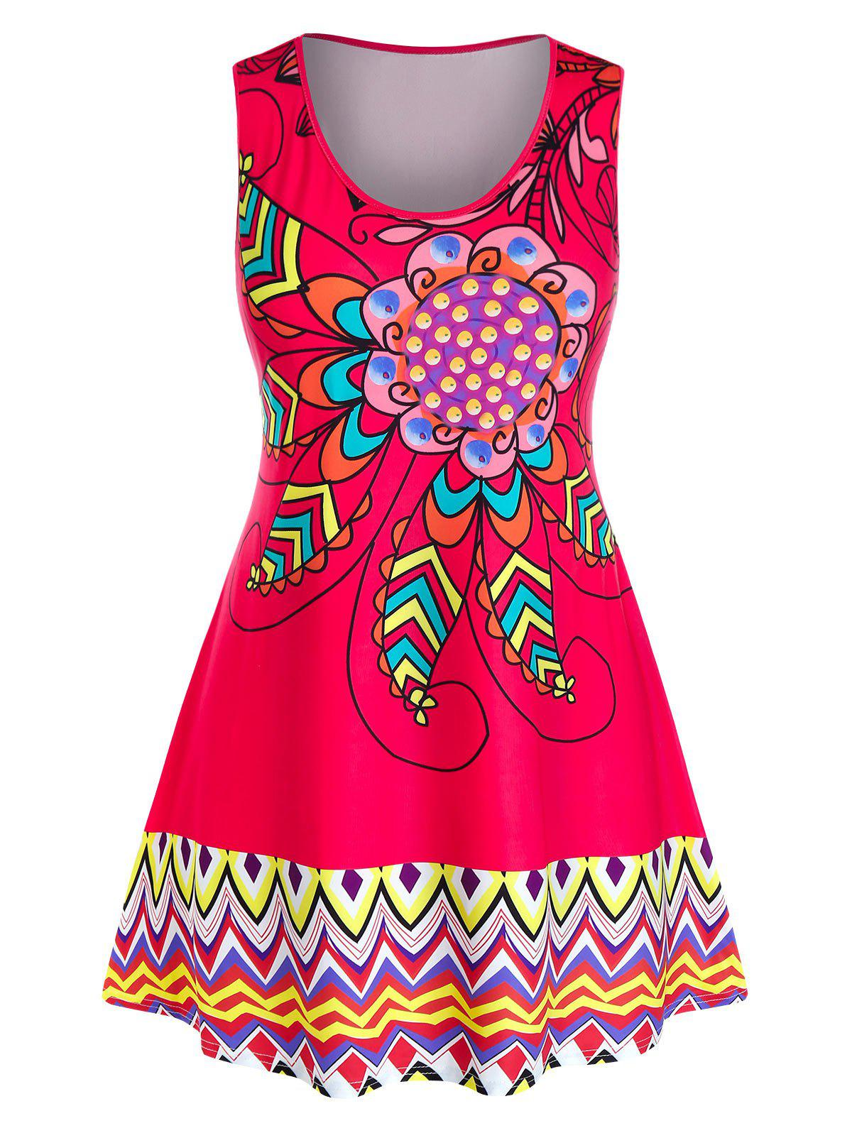 Plus Size Floral Print Zigzag Tank Top - RED 3X
