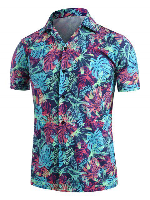 Palm Leaves Print Camp Collar Button Up Shirt