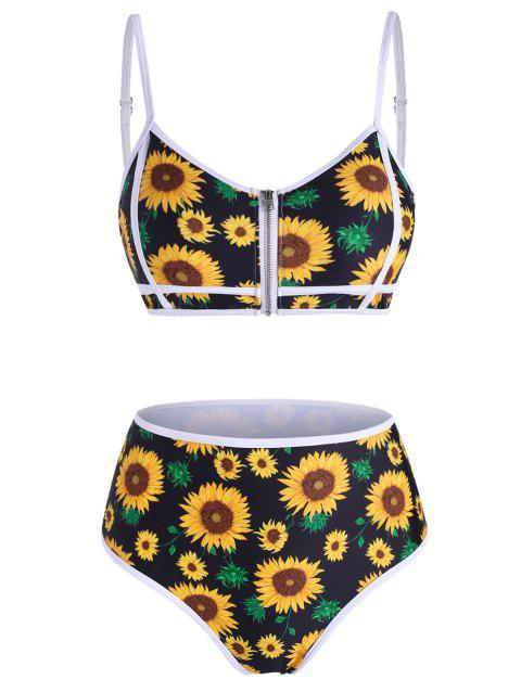 Sunflower Zip Up Piping Bikini Swimwear