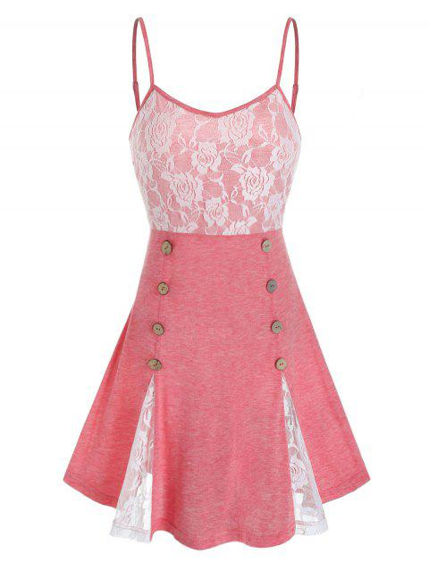 Lace Panel Sailor Buttons Skirted Backless Cami Top