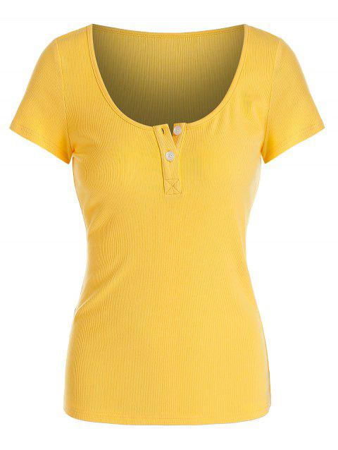 Button Scoop Collar Solid Ribbed T-shirt