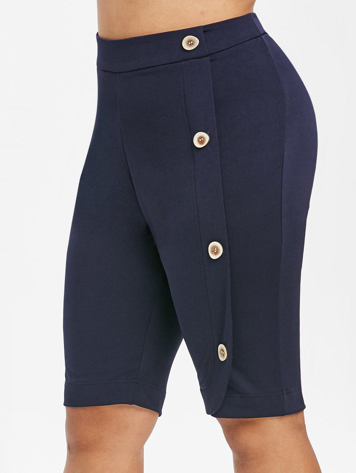 Mock Buttons High Waisted Plus Size Knee Length Shorts - BLUE L