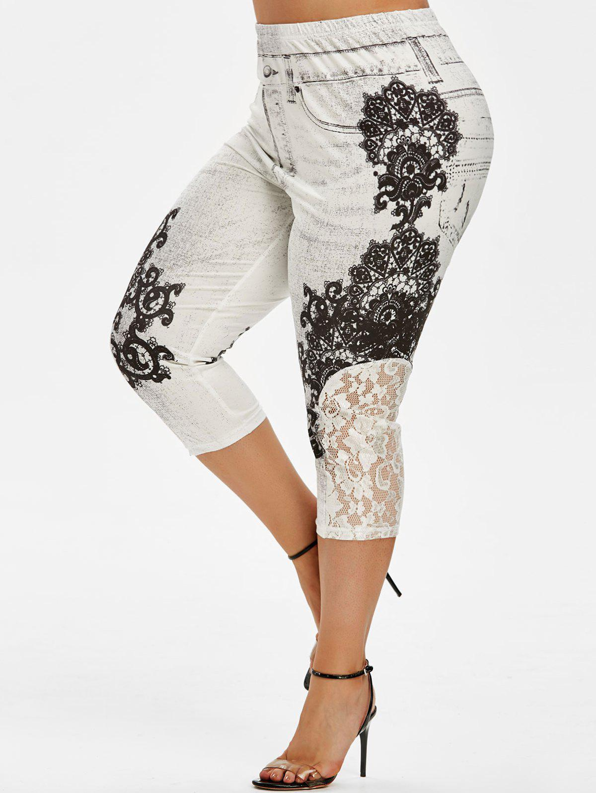 Lace Panel 3D Printed Capri Plus Size Jeggings - WHITE 4X