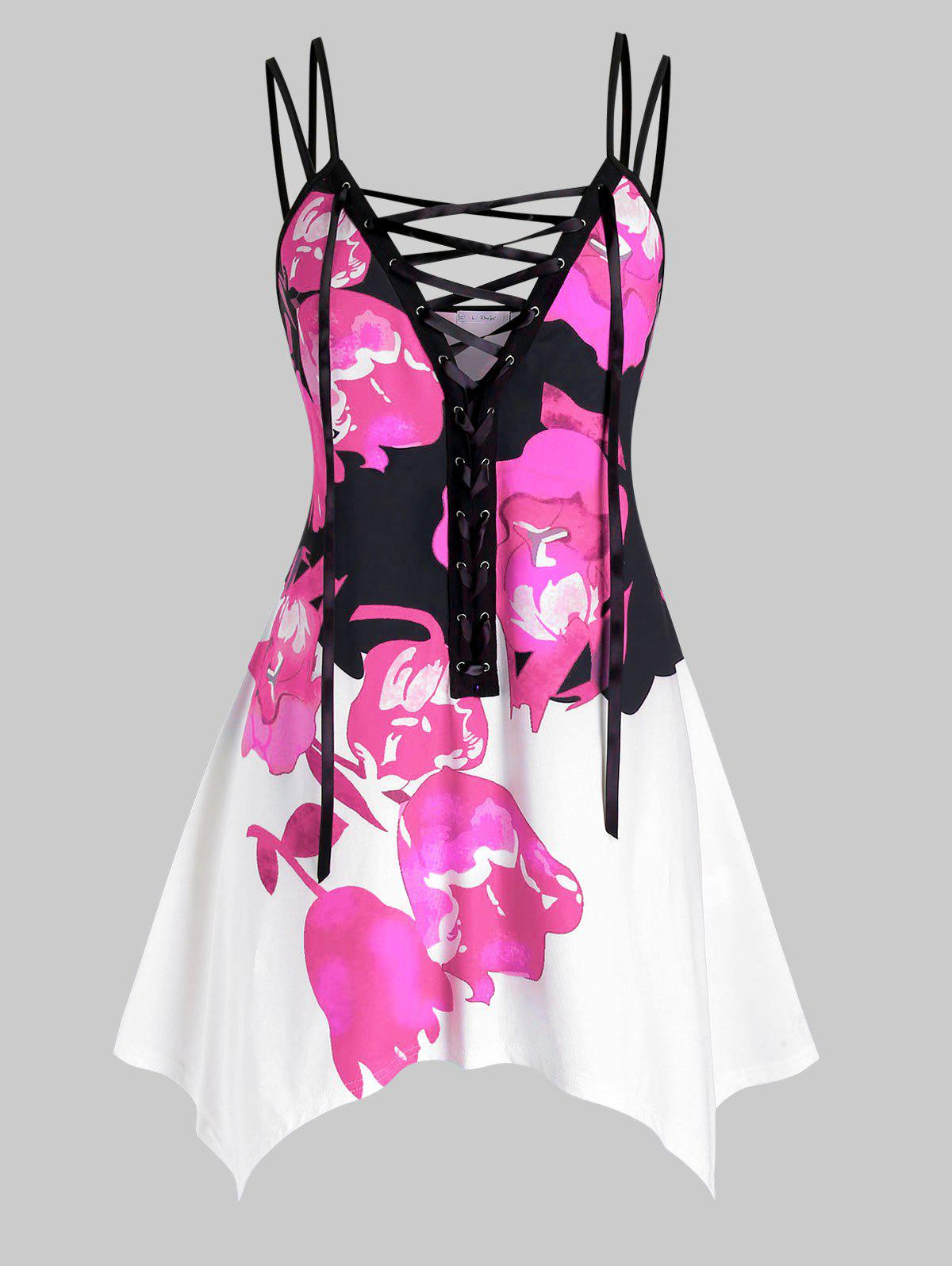 Plus Size Flower Print Lace Up Asymmetrical Tunic Cami Top - LIGHT PINK 5X