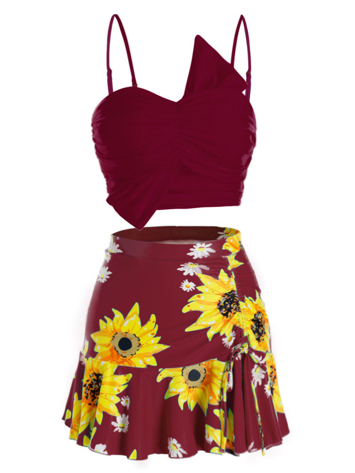 Plus Size Sunflower Ruched Three Pieces Skirted Tankini Swimwear - DEEP RED 5X
