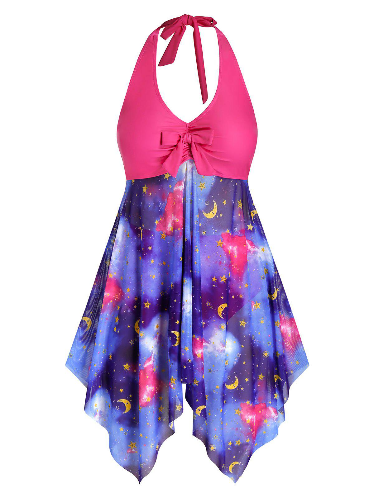 Plus Size Galaxy Moon and Star Hanky Hem Halter Tankini Swimwear - RED 5X