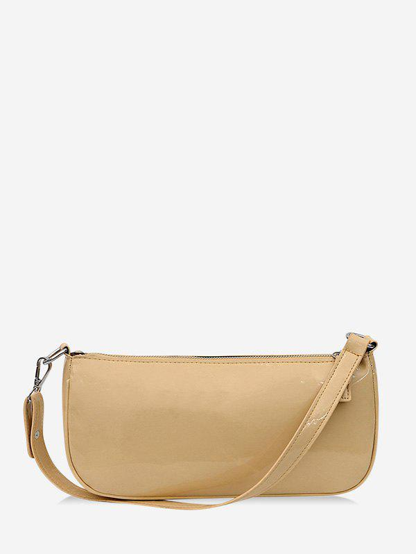 Pure Color Leather One Shoulder Bag - LIGHT COFFEE