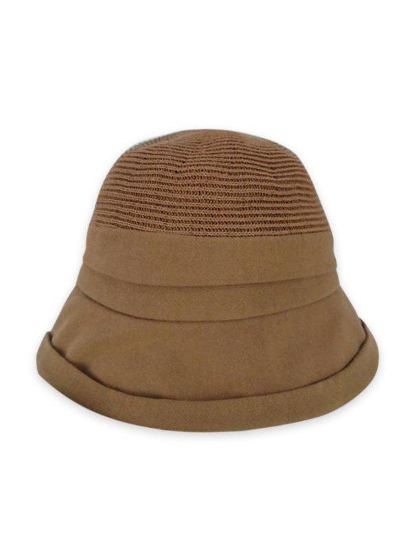 Pure Color Woven Bucket Hat - KHAKI
