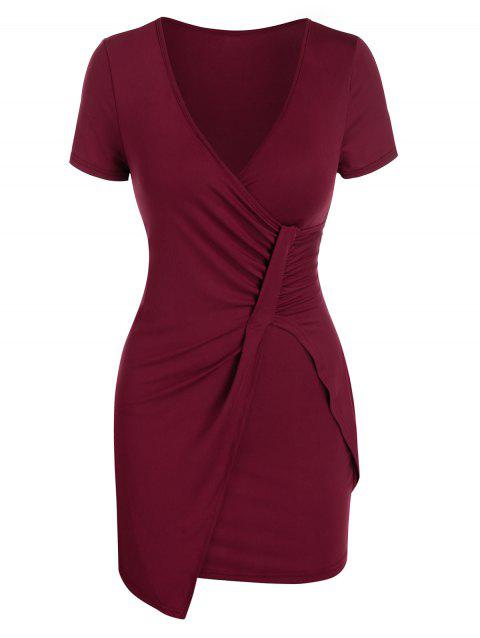 Plunge Neck Ruched Asymmetric Sheath Dress