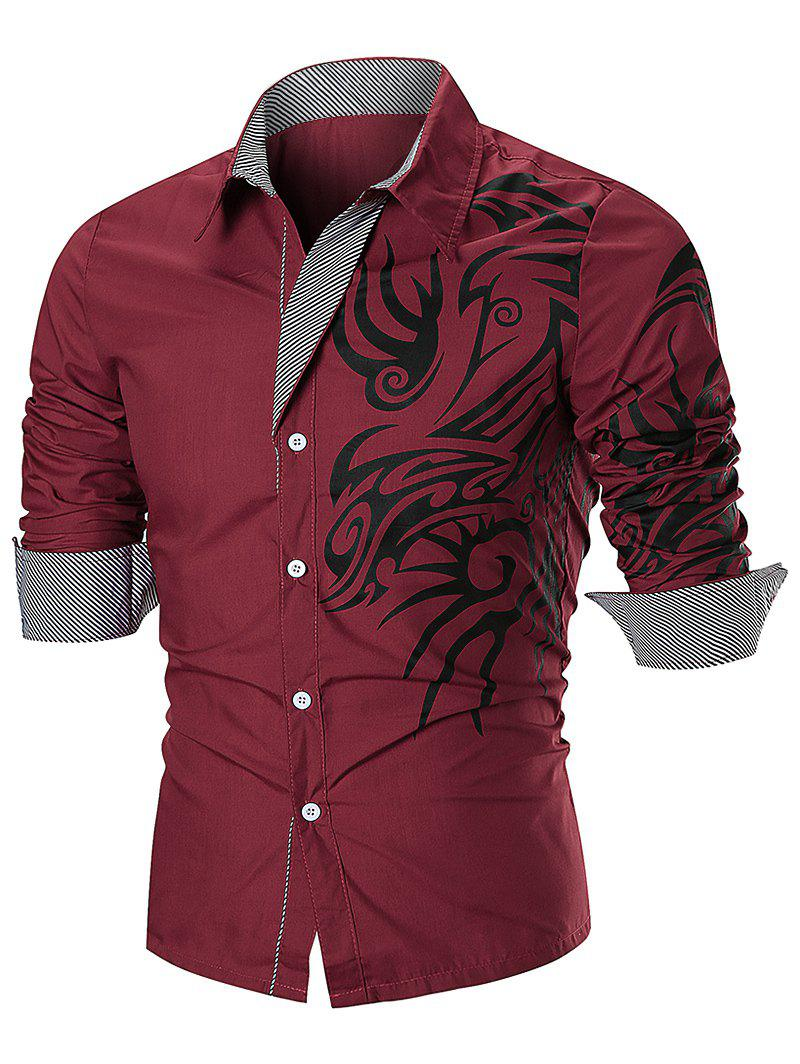 Tattoo Print Button Up Long Sleeve Shirt - RED L