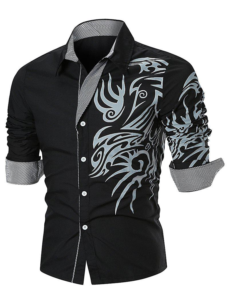 Tattoo Print Button Up Long Sleeve Shirt - BLACK L