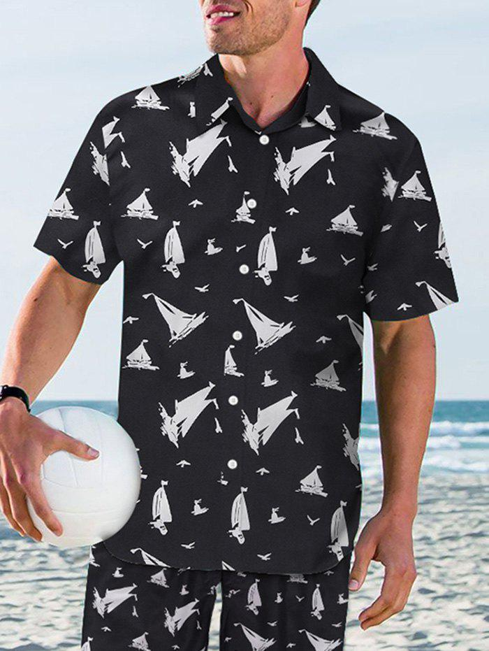 Ship Pattern Casual Short Sleeves Shirt - BLACK 2XL
