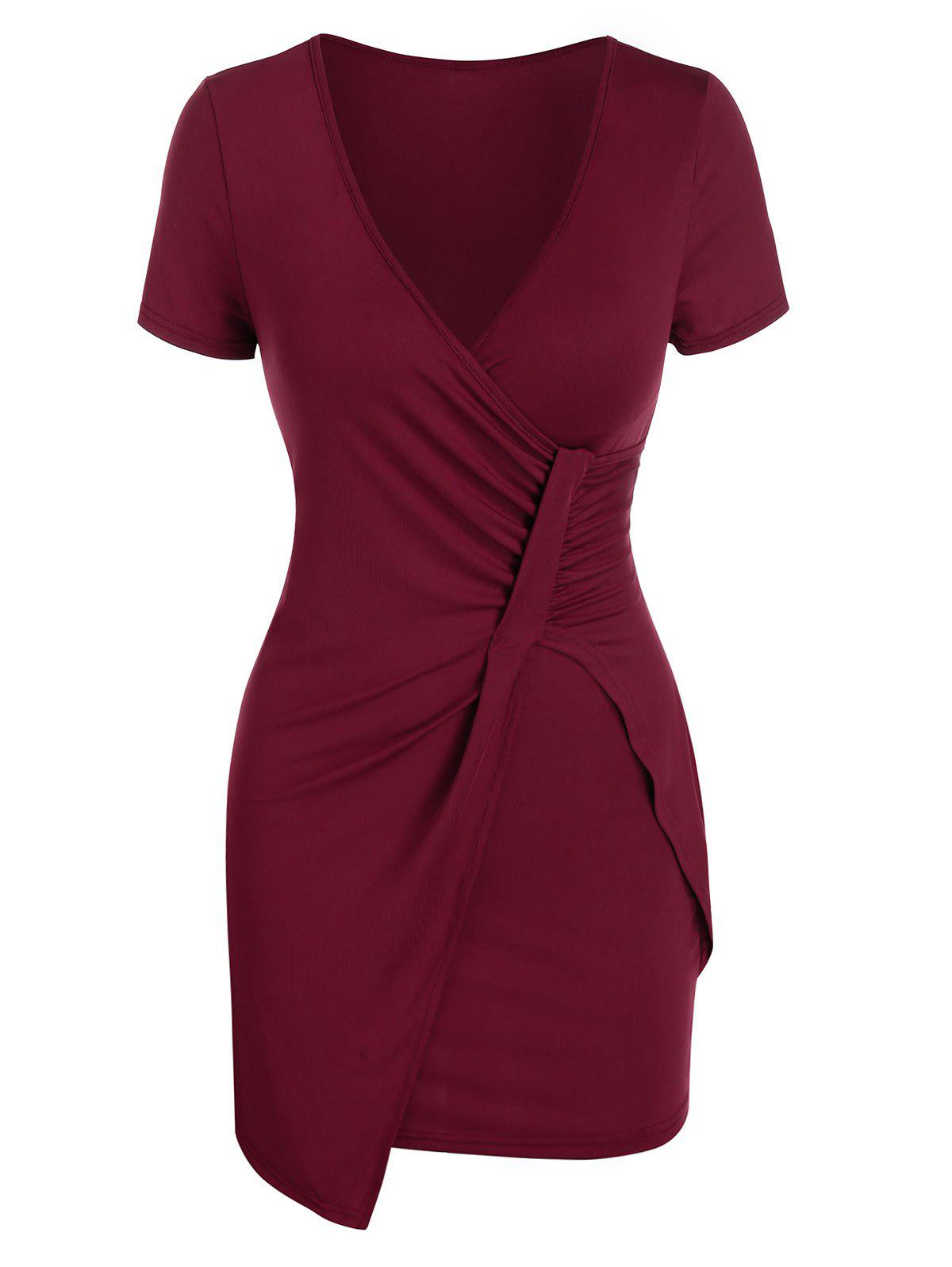 Plunge Neck Ruched Asymmetric Sheath Dress - RED WINE 2XL