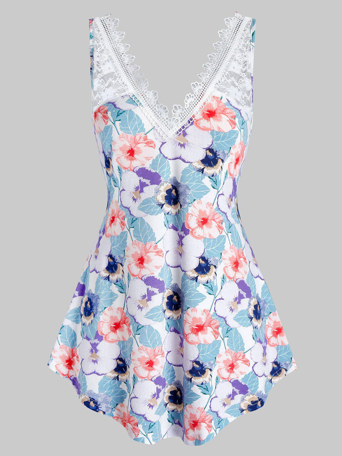 Plus Size Flower Lace Panel Backless Tunic Tank Top - BABY BLUE 5X