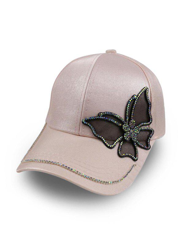 Butterfly Rhinestone Satin Baseball Cap - LIGHT PINK