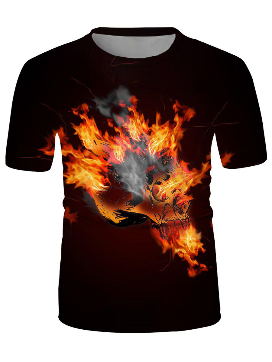Flaming Skull Graphic Crew Neck Casual T Shirt - multicolor 2XL