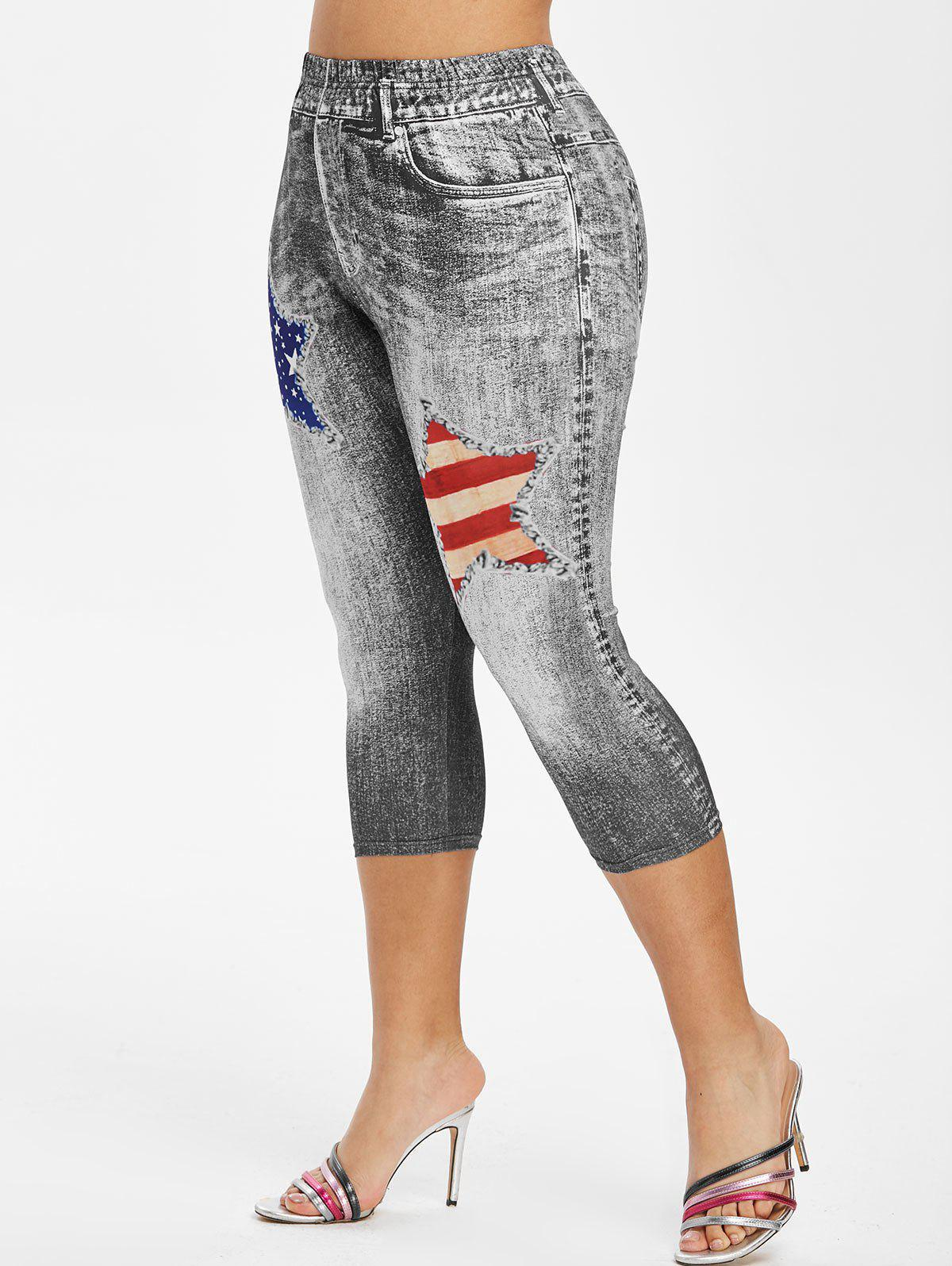 Plus Size American Flag 3D Destroyed Jean Print Cropped Jeggings - BLACK 5X