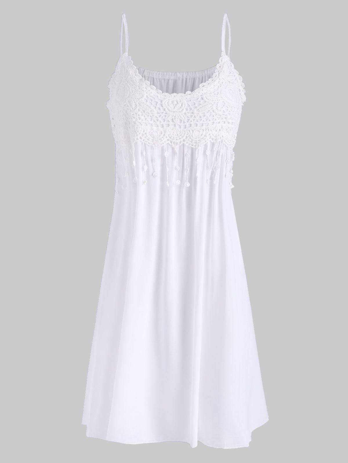 Cami Crochet Lace Panel Mini Dress - WHITE S