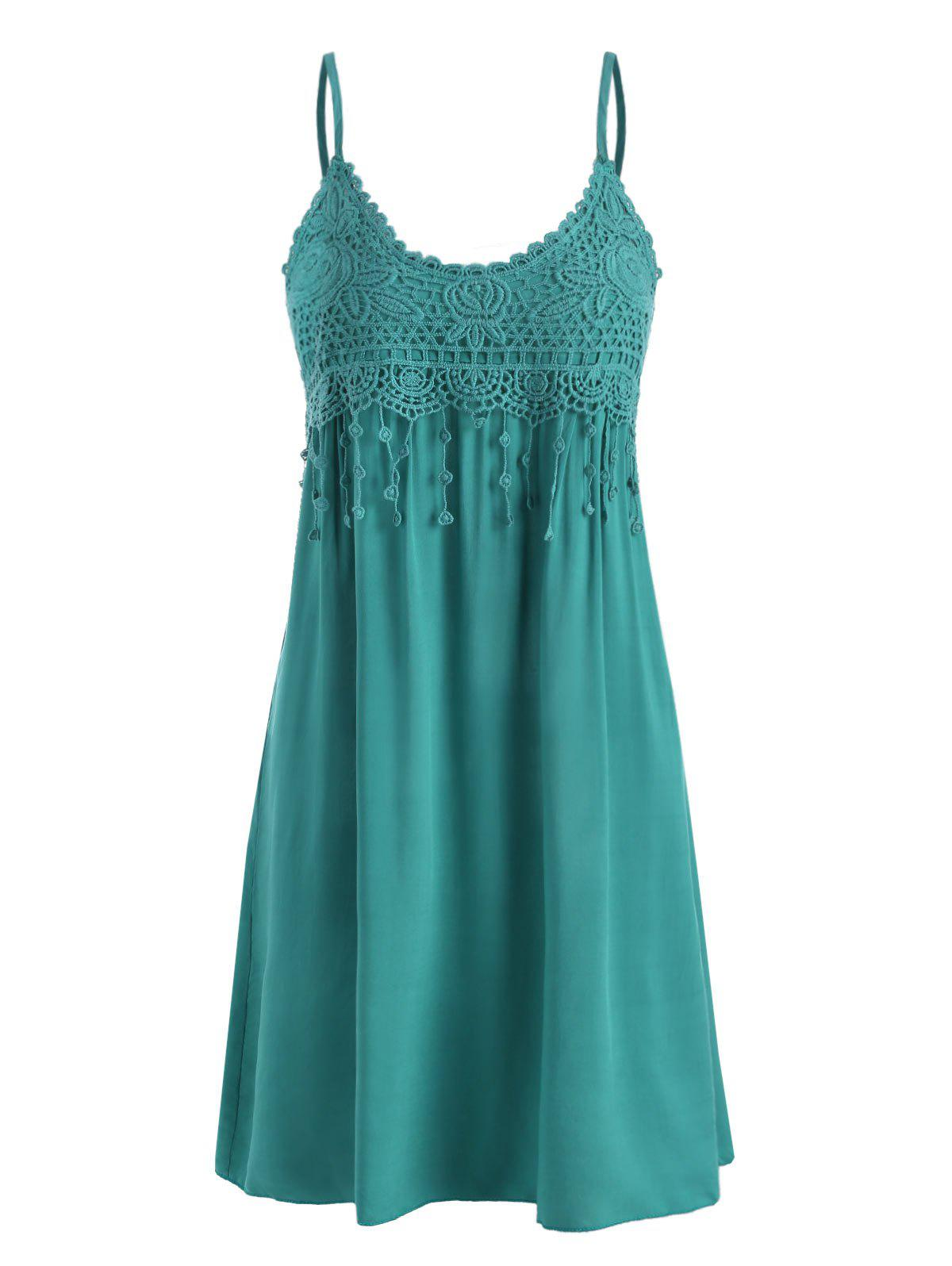 Cami Crochet Lace Panel Mini Dress - DEEP GREEN XL