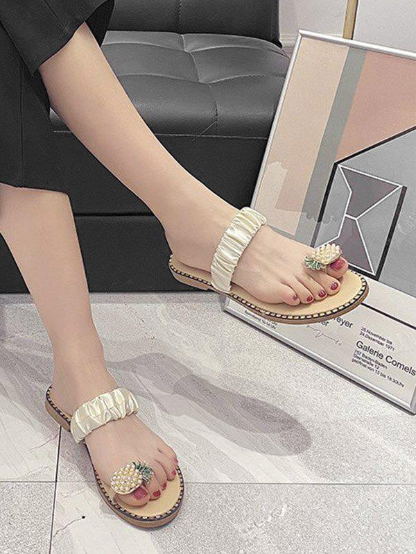 Pineapple Toe Ring Flat Slides - BEIGE EU 39