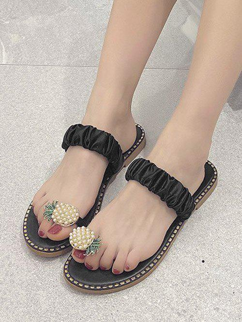 Pineapple Toe Ring Flat Slides - BLACK EU 38