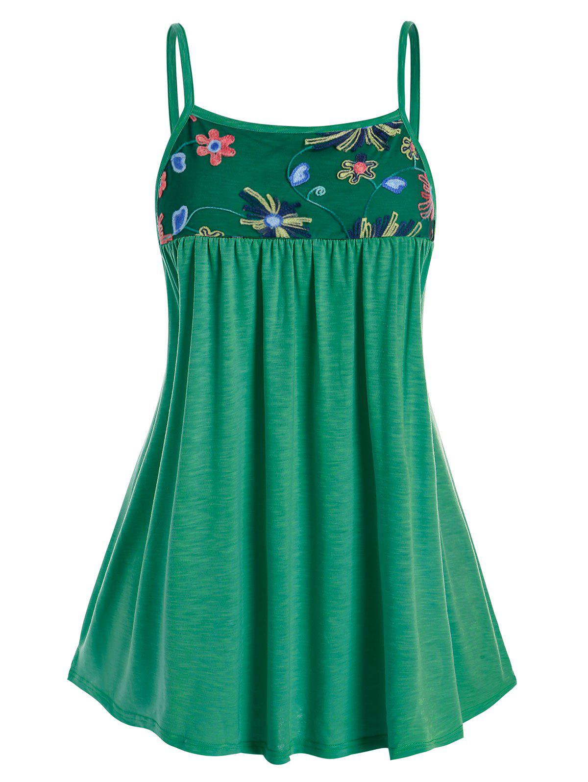Plus Size Embroidered Mesh Cami Top - DEEP GREEN 3X