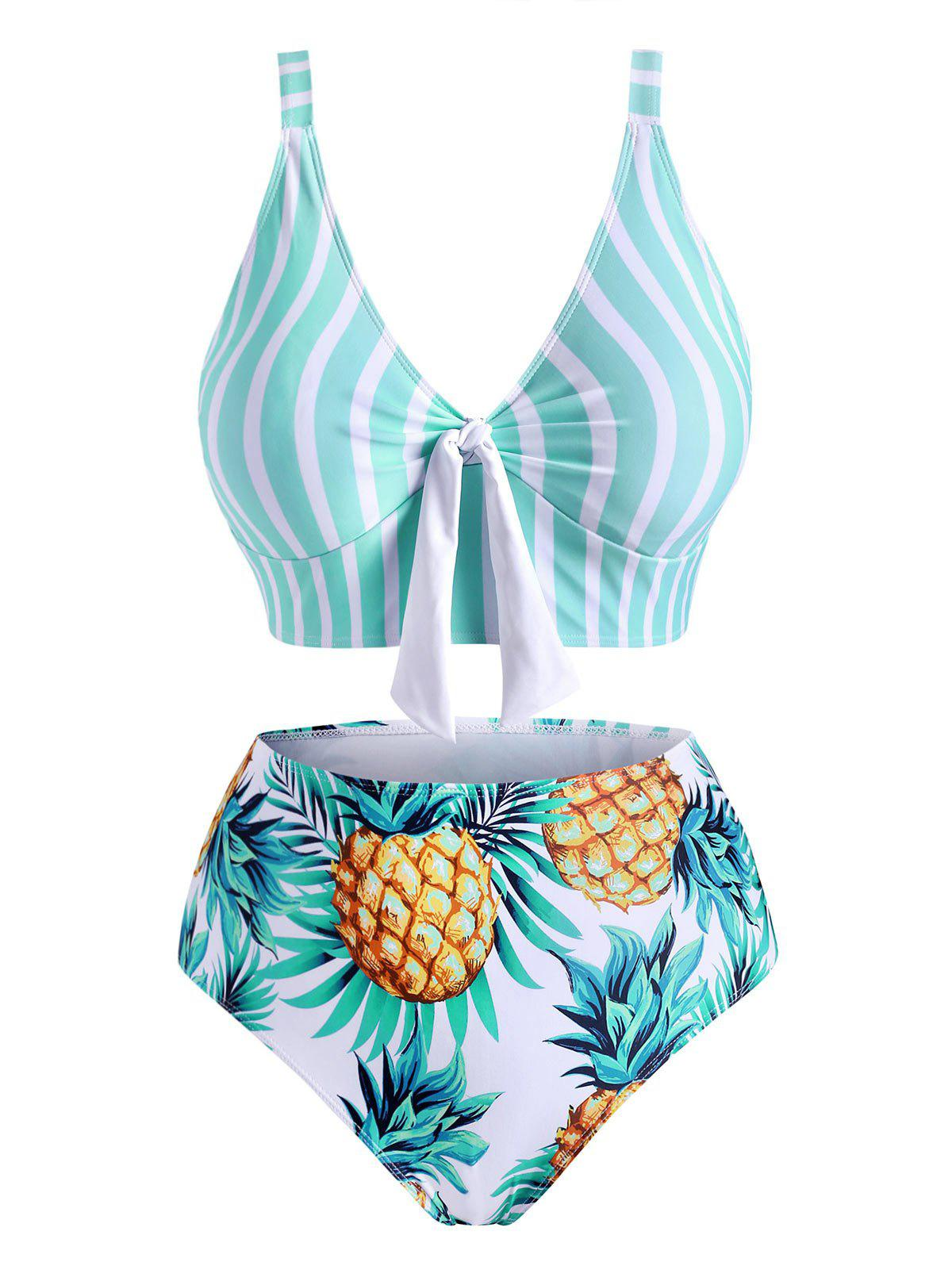 Plus Size Striped Pineapple Tied High Waisted Tankini Swimwear - LIGHT GREEN 2X