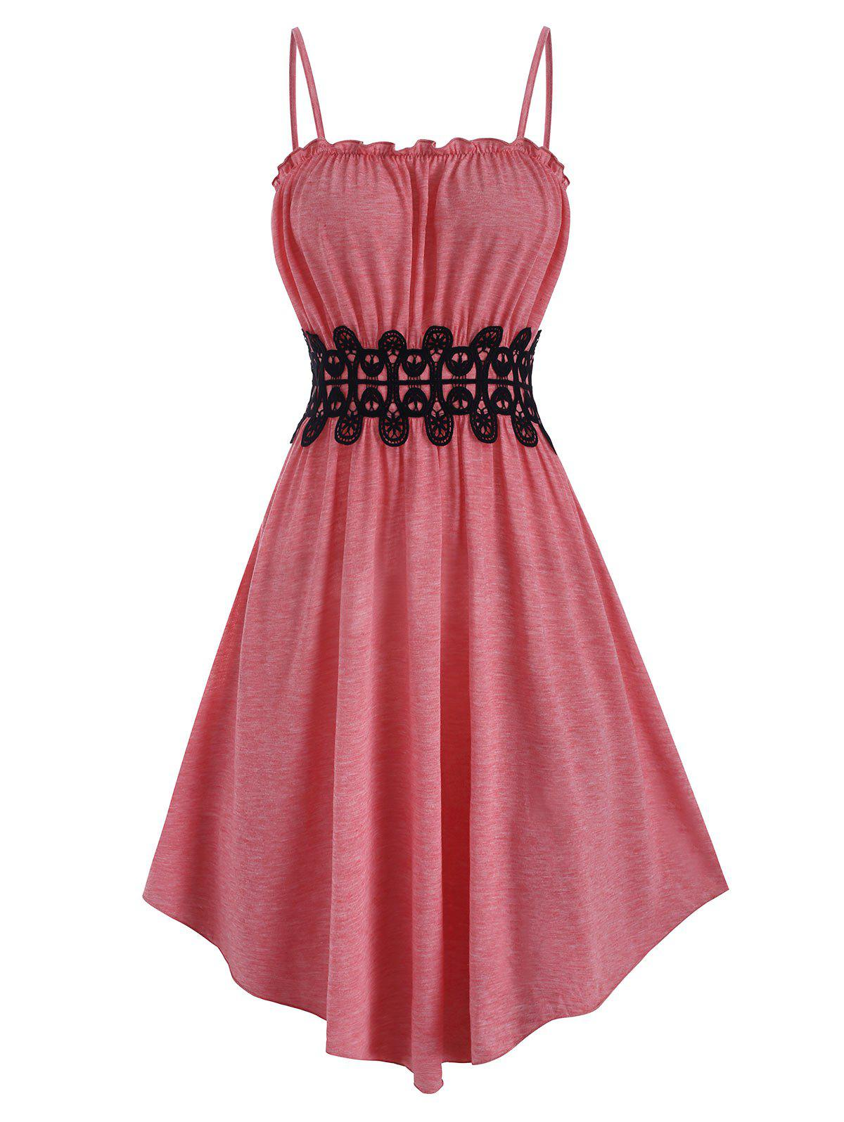 Frilled Lace Applique Cami Dress - LIGHT PINK XL